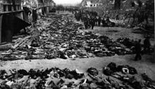 Rows of bodies of dead inmates fill the yard of Lager Nordhausen, a Gestapo concentration camp