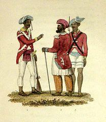 Kaksi sepoy-upseeria ja sepoy-sotilas